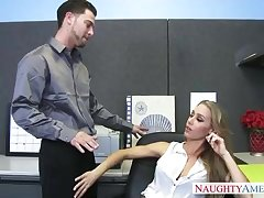 Bad cougar nearly tights, Nicole Aniston enjoys to take her colleague's rigid knob, while nearly the post