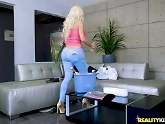 Thick titted mummy, Nicolette Shea was seizing her udders, while her guy was humping her adorable vagina