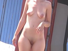 Amateur Hot cissified nudists hidden prick up one's ears not far from beach voyeur HD Video