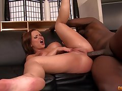 Redhead goes wild vulnerable black man's cock in complete XXX