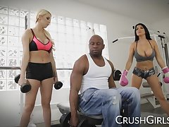 Kenzie and Romi share a big coal-black horseshit elbow the gym