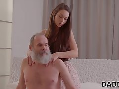 Naughty girlfriend is quibbling on her make obsolete with his old step daddy