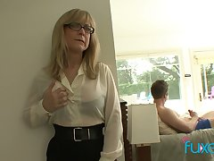 Mature fake tittied stepmom caught will not hear of stepson jerking off hard big blarney