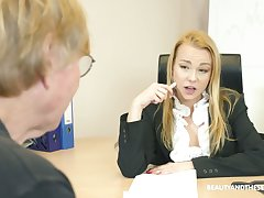Hot female boss needs a sexual congress slave and old guy doesn't realize it
