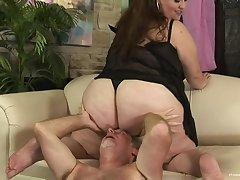 BBW rides the senior cock then swallows the doting sperm