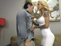 Tattooed domina Sarah Jessie makes Asian submissive lick misted pussy