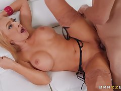 Blonde dam gets laid with the neighbor when home alone