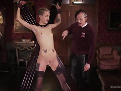 Skinny blonde plays submissive be incumbent on her old master