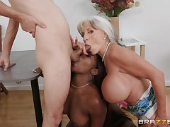 Busty mature loves helping this ebony babe with an obstacle big dick