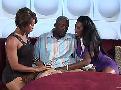 Nasty hot ass babes Nyomi Banxxx and Imani gets drilled doggystyle regarding a hot turning-point
