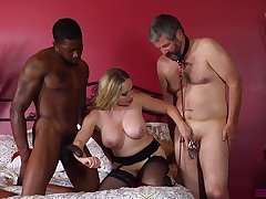 Mature wife enjoys two powered males for flagitious threesome porn