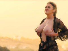 Turned off sexy housewife Dee Williams flashes say no to gorgeous boobies outdoors