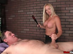 Tow-headed of age gets nude as A she pleasures say no to client's pulsating cock