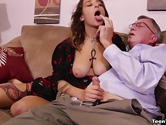 XXX chick with tattoos pleasures an patriarch guy with her hands