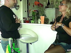 Big Tits German Mom Pay The Window Cleaner with Dealings