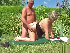 German Grandpa and Grandma Fuck Hard respecting Garden