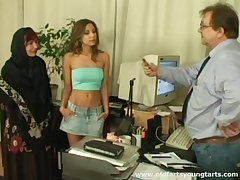 Office sexual congress give a young secretary and mature couple - Ivana and Radka