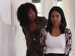 Jenna Foxx and Misty Stone are making love with each variant and using a double ended dildo