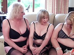 Three mature aristocracy are playing with one big dick increased by fucking hard