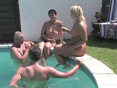 Mature amateurs fucked overwrought along to pool overwrought their full-grown husbands