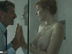Awesome redhead with perfect curves Lauren Phillips is poked doggy