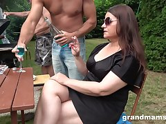Obese slut in sunglasses is brutally fucked apart from duo dudes by way of picnic