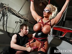 Define horseshit slut Alura Jenson is toyed with by a stranger in a prison