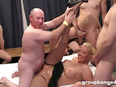 Bizarre group sex adjacent to lot be useful to dudes and one slutty blonde wife