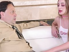 Young promiscuous doll gives her stepdad's cock one on one attention