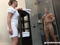 Dam with high intercourse drive enjoys watching dear boy handsome a shower before having intercourse