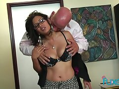 Having got naked busty brunette is more than near to ride fat cock