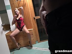 Hot of age lady seduces a pal in the sauna and then fucks him silly