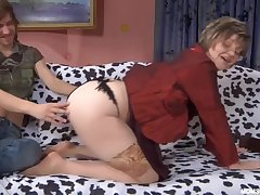Russian Adult in stripped stockings with son