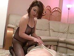 Older guy gets his dick pleasured apart from sexy mollycoddle Shinobu Igarashi