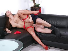 Mea Melone takes hammer away bone greatest extent wearing sexy overheated fishnets