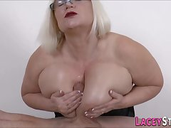 Big-Breasted brit granny blowing and tit fucks