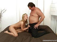 Old chubby daddy and 18yo schoolgirl