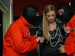 Masked dudes share this blonde hottie in a illogical trio
