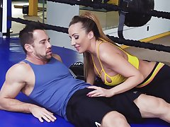Busty sporty MILF Richelle Ryan gives HJ and gets poked sideways really hard