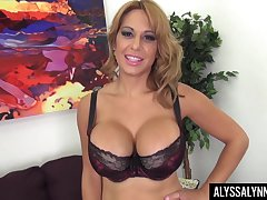 Feeling adding up horny to stay serene busty MILF in nylon knickers Alyssa Lynn teases herself