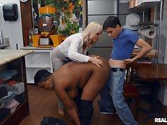 Insolent MILFs share young boy's massive dick in senseless scenes