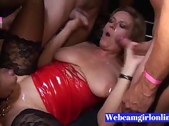 Grown up Pierced Blond Hair Babe Gets Multiple Cumshots