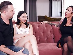 Hot tatted up MILF Lily Lane joins these two to make rosiness a threesome