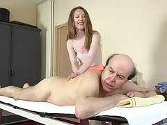 Old guy slides his dick in tight pussy of glum Emma Castle in the air