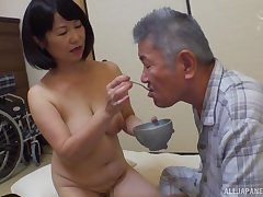 Japanese mature Kanasugi Rio spreads her legs to dread fingered