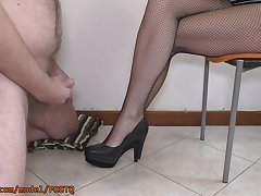 He Is So Exited With My Feet In Fishnets And Glum Tremble Lose concentration Cums Exposed to Them