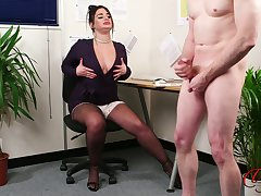Fat secretary all over fake lips flashes her boobs to her boss