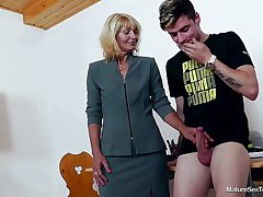 Older Trainer Ivona And Teen Thick-Dicker