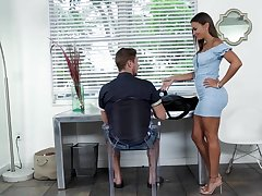 Hot stepmom in a skin tight dress gives her stepson a emphasis relieving blowjob