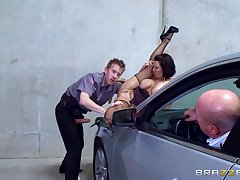 MILF feels it in be transferred to ass while hubby sits in be transferred to auto and watches their way